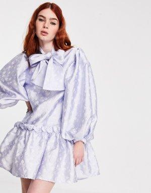 Жаккардовое платье мини с присборенной юбкой и большим бантом Sister Jane-Голубой jane