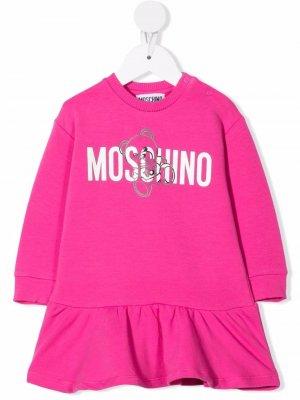 Logo-print ruffle-trim dress Moschino Kids. Цвет: розовый