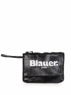 Сетчатый клатч с логотипом Blauer. Цвет: черный