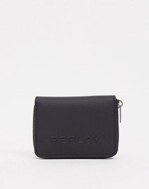 Бумажник на молнии с логотипом -Черный Replay