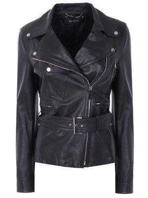 Кожаная куртка с ремнем GUCCI. Цвет: черный