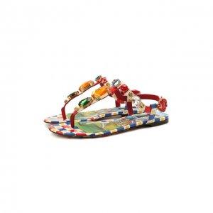 Кожаные сандалии Infradito Dolce & Gabbana. Цвет: разноцветный