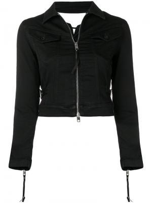 Укороченная джинсовая куртка Diesel. Цвет: черный