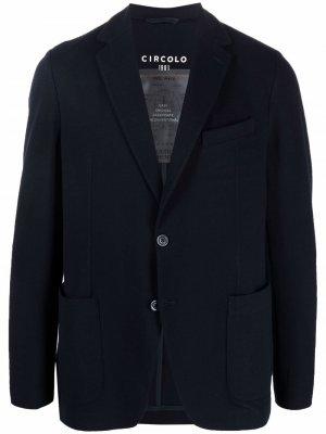 Однобортный пиджак с заостренными лацканами Circolo 1901. Цвет: синий