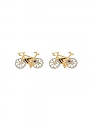 Запонки в виде велосипеда PAUL SMITH. Цвет: золотистый