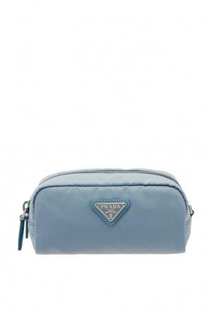 Удлиненная косметичка с логотипом Prada. Цвет: голубой