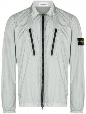 Logo-patch zip-up jacket Stone Island. Цвет: серый