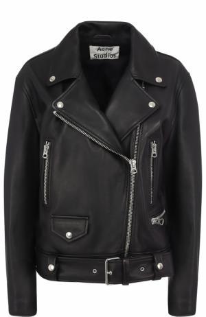 Кожаная куртка свободного кроя с косой молнией Acne Studios. Цвет: черный