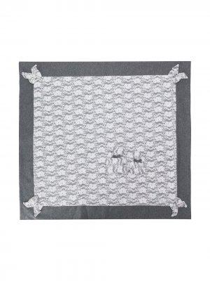 Одеяло с цветочным кружевом Aletta. Цвет: серый