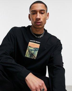 Oversized-лонгслив с принтом картины Крик спереди и сзади Edvard Munch-Черный цвет ASOS DESIGN