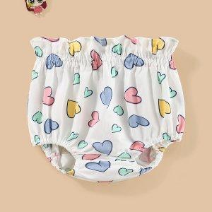 Для девочек Трусики с присборенной талией принтом сердечка SHEIN. Цвет: многоцветный