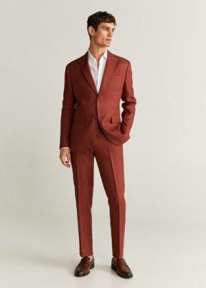 Костюмные брюки slim fit изо льна - Florida-i Mango. Цвет: вишневый