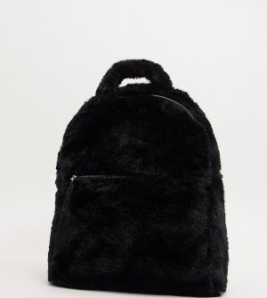Черный рюкзак из искусственного меха Monki