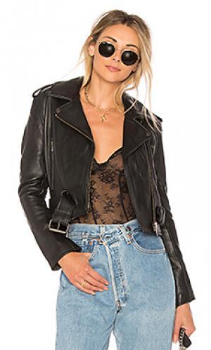 Кожаная байкерская куртка shrunken Understated Leather. Цвет: черный