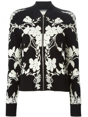 Куртка-бомбер с цветочным принтом Alexander McQueen. Цвет: чёрный