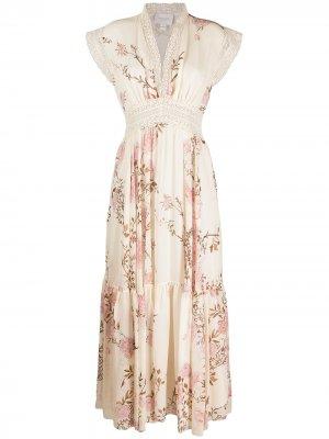 Платье с цветочным принтом Giambattista Valli. Цвет: нейтральные цвета