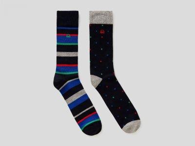 Набор из 2х пар носков с рисунком Benetton. Цвет: мультиколор