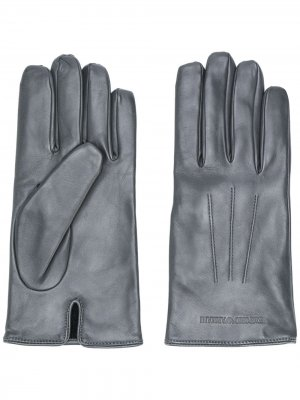 Перчатки с тисненым логотипом Emporio Armani. Цвет: серый