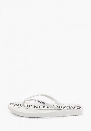 Сланцы Calvin Klein Jeans. Цвет: белый
