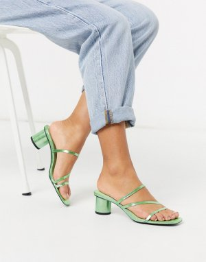 Зеленые босоножки металлик на каблуке -Зеленый Monki