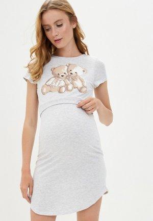 Платье домашнее Hunny mammy. Цвет: серый