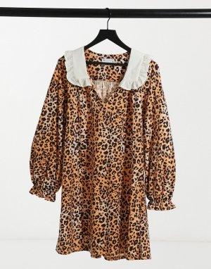 Платье мини с леопардовым принтом и большим контрастным воротником -Многоцветный ASOS DESIGN
