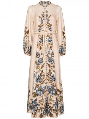 Платье Aliane с высоким воротником ZIMMERMANN. Цвет: нейтральные цвета