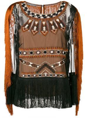 Блузка с вышивкой и бахромой Alberta Ferretti. Цвет: черный