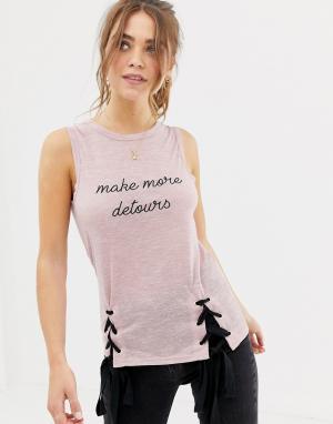 Укороченная майка с надписью -Розовый Glamorous