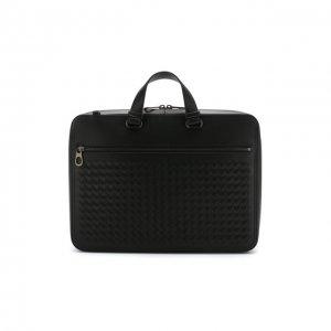 Кожаный портфель с плечевым ремнем Bottega Veneta. Цвет: чёрный