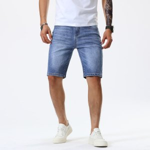 Мужские джинсовые шорты с карманом SHEIN. Цвет: легко-синий