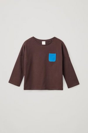 ТРИКОТАЖНЫЙ ДЖЕМПЕР ИЗ ОРГАНИЧЕСКОГО ХЛОПКА COS. Цвет: синий, коричневый