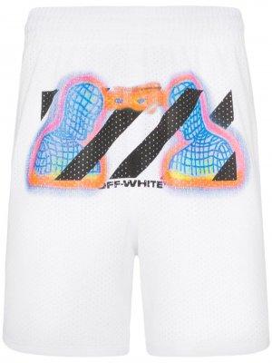 Сетчатые шорты с термопринтом Off-White. Цвет: белый