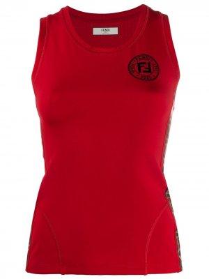 Топ без рукавов с логотипом FF Fendi. Цвет: красный