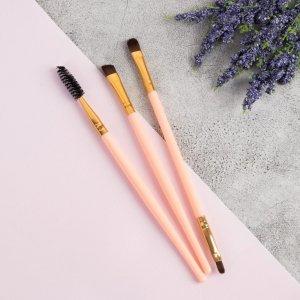 Набор кистей для макияжа, 3 предмета, цвет розовый Queen fair