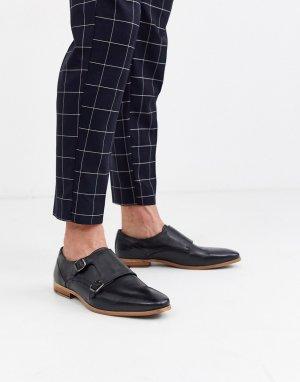Черные кожаные монки на натуральной подошве -Черный цвет ASOS DESIGN