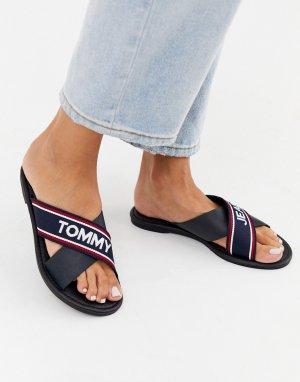 Сандалии на плоской подошве с перекрестными ремешками Tommy Jeans-Темно-синий Hilfiger
