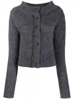 Crystal-embellished cardigan Nº21. Цвет: серый