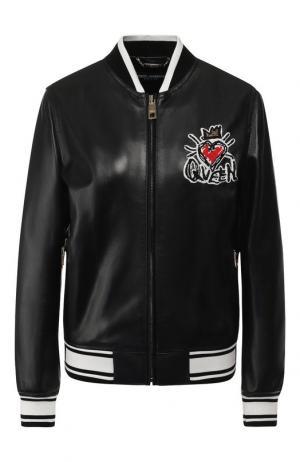 Кожаный бомбер с декоративной отделкой Dolce & Gabbana. Цвет: черный