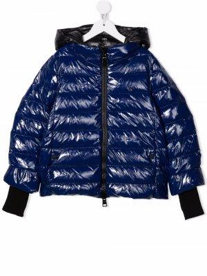 Hooded zip-up padded jacket Herno Kids. Цвет: синий