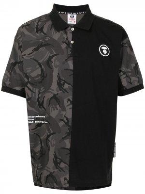 Panelled polo shirt AAPE BY *A BATHING APE®. Цвет: черный