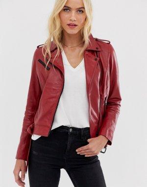 Красная кожаная байкерская куртка -Красный Barneys Originals