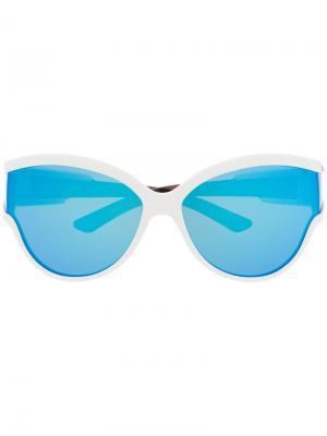 Солнцезащитные очки в круглой оправе Unlimited Balenciaga Eyewear. Цвет: белый