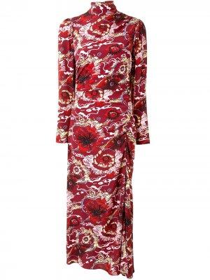 Платье макси с цветочным принтом A.L.C.. Цвет: красный