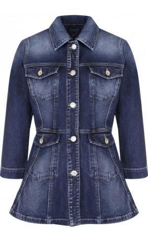 Приталенная джинсовая куртка с потертостями Jacob Cohen. Цвет: синий