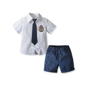 Для мальчиков эмблема заплатка узлом Рубашка с Шорты SHEIN. Цвет: синий и белый