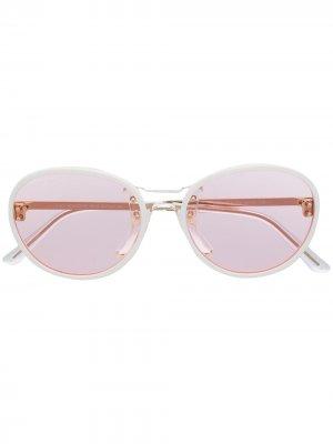 Солнцезащитные очки в круглой оправе Moncler Eyewear. Цвет: зеленый