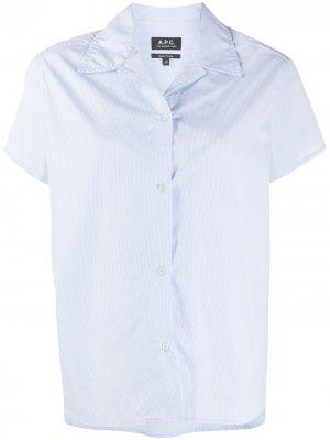 Рубашка в тонкую полоску с заостренным воротником A.P.C.. Цвет: синий