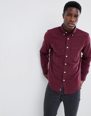 Приталенная оксфордская рубашка бордового цвета Abercrombie & Fitch. Цвет: красный