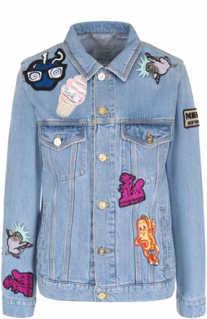 Джинсовая куртка прямого кроя с яркими нашивками Kenzo. Цвет: синий